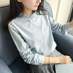 Angel Love - Frilled Neck Long-Sleeve Shirt