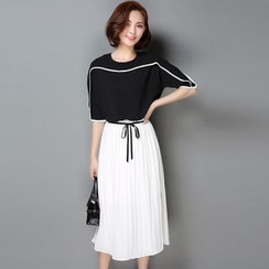 Pansie - Set: Piped Elbow Sleeve Chiffon Blouse + Pleated Midi Chiffon Skirt