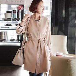 JOAMOM - Mandarin-Collar Trench Coat with Sash
