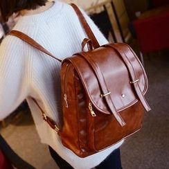 QeQ - Faux-Leather Flapped Backpack