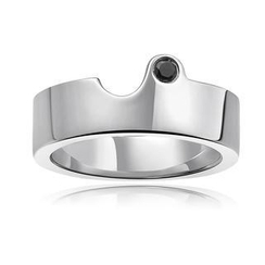 MBLife.com - Left Right Accessory - 925 Silver Black Diamond Couple Ring (Male)