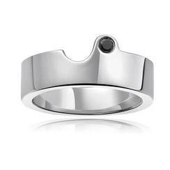 MBLife.com - Left Right Accessory - 925 純銀鑲嵌黑色圓形鑽石情侶戒指 (男裝)