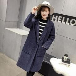 Honeydew - Notch Lapel Padded Woolen Coat