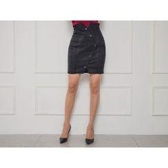 ERANZI - High-Waist Button-Detail Faux-Suede Skirt