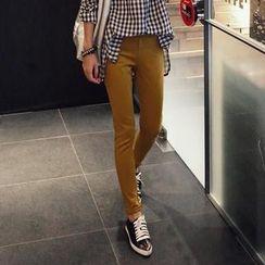 REDOPIN - Band-Waist Colored Skinny Pants