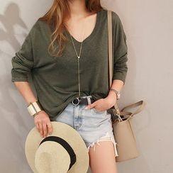 NANING9 - V-Neck Linen Blend T-Shirt