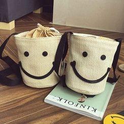 Clair Fashion - 韩版编织漱口微笑笑脸斜背包