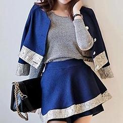 Lovebirds - 套裝: 長袖上衣 + 拼接短款夾克 + 斜擺裙褲