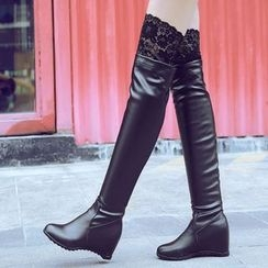 JY Shoes - Lace Trim Hidden Wedge Over The Knee Boots