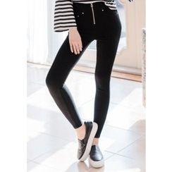 REDOPIN - Zip-Detail Skinny Pants