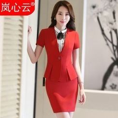 Skyheart - Short-Sleeve Blazer / Set: Blazer + Dress Pants / + Skirt / + Striped Short-Sleeve Dress Shirt
