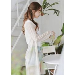 GOROKE - Open-Front Sheer Long Cardigan