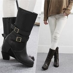 Reneve - Buckled Genuine-Leather Mid-Calf Boots