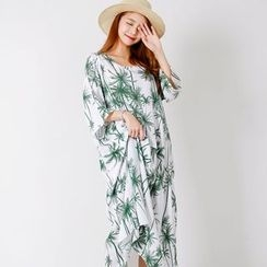 FASHION DIVA - Foliage Linen Blend Boxy-Fit Long Dress