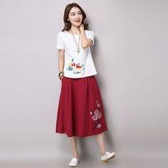 Salisha - Embroidered Midi Skirt
