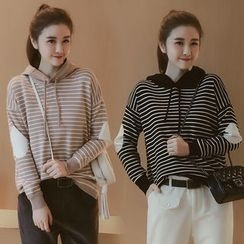 Munai - Drawstring Hooded Stripe Pullover