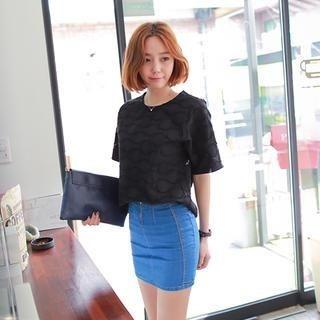 WITH IPUN - Denim Pencil Miniskirt