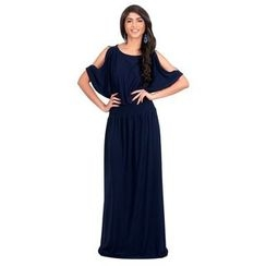 Hotprint - Cutout Shoulder Maxi Dress
