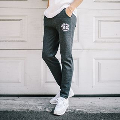 DANGOON - Drawstring-Waist Lettering Sweatpants