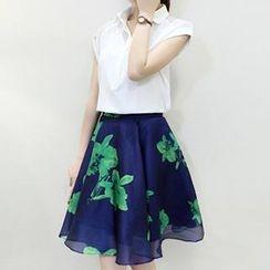 Fashion Street - Set: Chiffon Blouse + Print A-Line Skirt