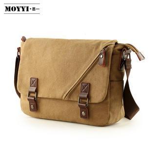 Moyyi - Buckled Flap Canvas Messenger Bag