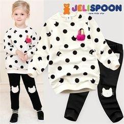 JELISPOON - Girls Set: Polka-Dot Sweatshirt with Brooch + Knee-Patch Leggings