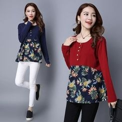 Diosa - Floral Panel Long-Sleeve T-Shirt