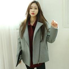 Dodostyle - Wool Blend Zip-Up Jacket