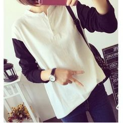 MAVIS - Two-Tone Long-Sleeve Henley