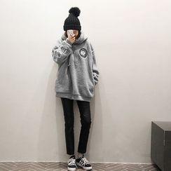 NANING9 - Fleeced Hooded Pullover