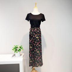 AIGIL - Set: Short-Sleeve T-Shirt + Floral Midi Skirt