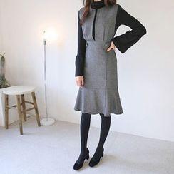 Hello sweety - Slit-Front Ruffle-Hem Jumper Dress