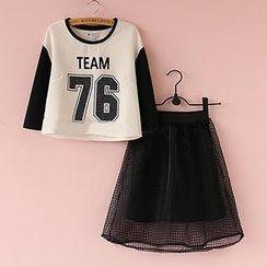 Munai - Set: Lettering Top + Check Organza Skirt