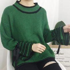 MePanda - Striped Bell-Sleeve Chunky Knit Sweater