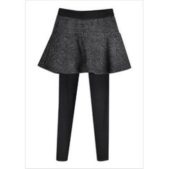GOROKE - Inset Mini Flare Skirt Leggings