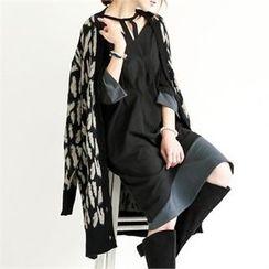 GLAM12 - Wool-Blend Leopard-Pattern Long Cardigan