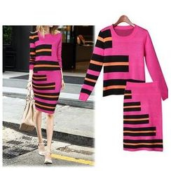 GRACI - Set: 3/4-Sleeve Stripe Top + Skirt