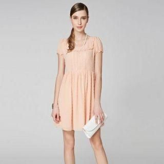 O.SA - Puff-Sleeve Lace-Panel Frilled Dress