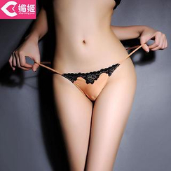 Charming Lover - Lace-Trim Satin Thongs