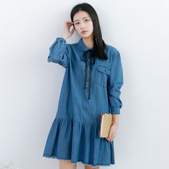 Forest Girl - Pocketed Collared Long Sleeve Denim Dress
