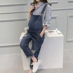 Viana Smile - 孕妇做旧背带牛仔裤