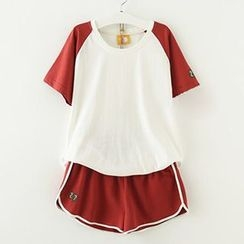 Meimei - Set: Short Sleeve Baseball T-Shirt + Piped  Sweat Shorts