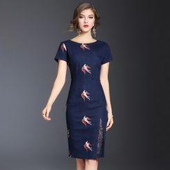 Elabo - Lace Panel Embroidered Denim Sheath Dress