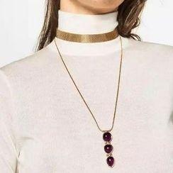 Ashita - Set: Metallic Choker + Gemstone Long Necklace