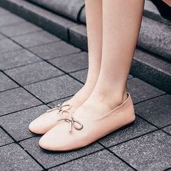 Pangmama - Genuine Leather Bow-Accent Flats
