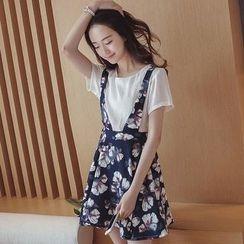 Cherry Dress - Set: Short-Sleeve Top + Floral Print A-Line Jumper Skirt