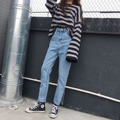 EEKO - Side Slit High Waist Jeans