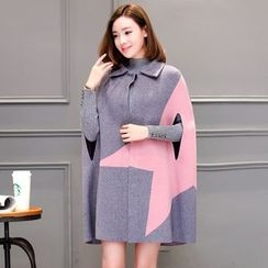 Tabla - Color Block Knit Cape