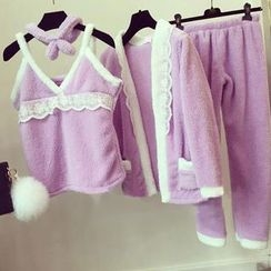 Happy Bird - Pajama Set: Head Band + Paneled Camisole + Paneled Cardigan + Pants
