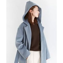 Someday, if - Hooded Wool Blend Coat with Sash